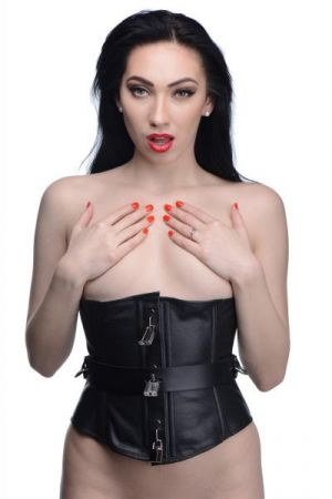 Strict Leather Locking Corset Black Large