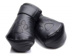 Strict Leather Padded Puppy Mitts Black