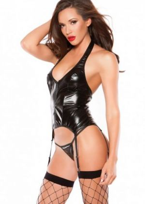 Kitten Wet Look Halter Corset Black OS