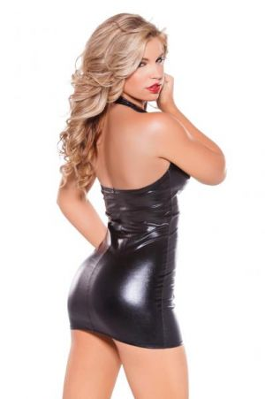 Kitten Wet Look &  Faux Leather Dress O/S