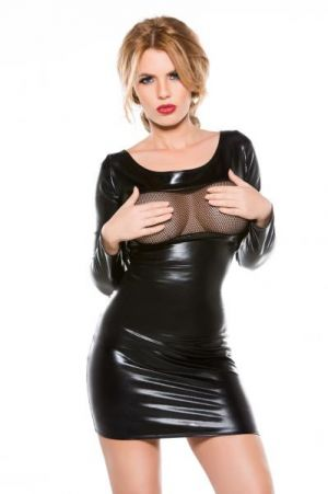 Kitten Wet Look Dress O/S Black
