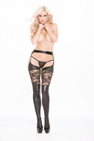 Kitten Lace & Wet Look Garter Tights O/S Black