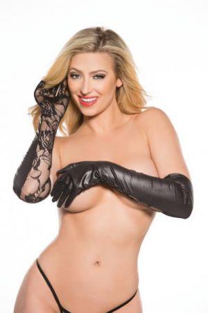 Kitten Lace Wet Look Gloves O/S Black