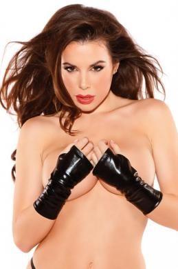 Naughty Kitten Gloves Black O/S