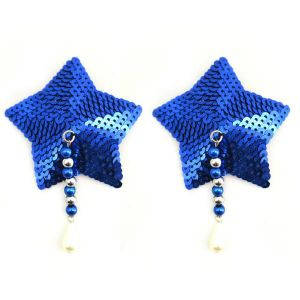 Bijoux Nipple Covers Sequin Star Beads Blue Pasties