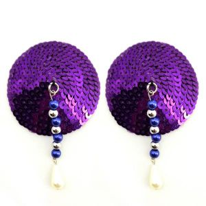 Bijoux Nipple Covers Sequin Round With Beads Purple