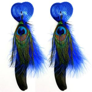 Bijoux Nipple Covers Sequin Heart Feathers Blue