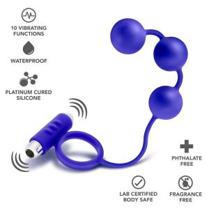 Penetrator Anal Beads Vibrating Cockring Indigo Blue