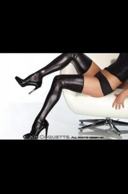 Wet Look Thigh High Black Os/Xl
