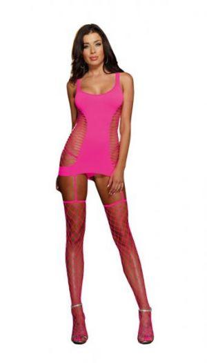 Opaque Garter Dress Neon Pink O/S