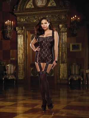 Lace Up Back Garter Dress Black Queen