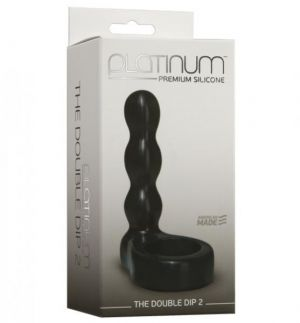 The Double Dip 2 Silicone Dual Penetration C Ring Black