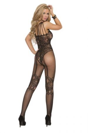 Fishnet & Lace Bodystocking Black O/S