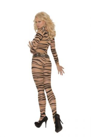 Zebra Print Long Sleeve Body Stocking O/S