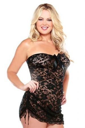 Strapless Dress & Thong 1x/2x Black