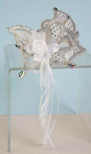 Venetian Half Mask Sequins White