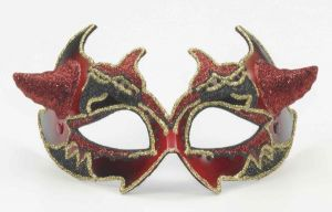 Venetian Mask Red Devil Horns