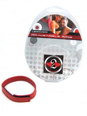 H2H Cock Ring Leather Velcro Red