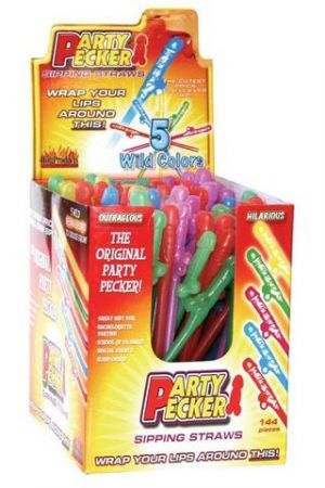 Party Pecker Sipping Straws 144 Piece Display