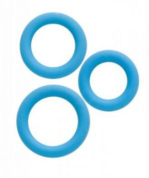 Simply Silicone Cockring Trio - Sky Blue