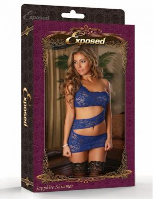 Zig Zag Dress G String Blue 2X