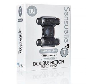 Sensuelle Double Action Black Vibrating Ring
