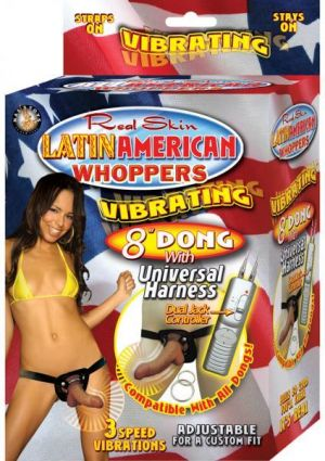 Latin American Whoppers 8in Vibrating Dong With Universal Harness
