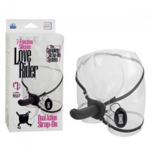7 Function Silicone Love Rider Dual Action Strap On Black