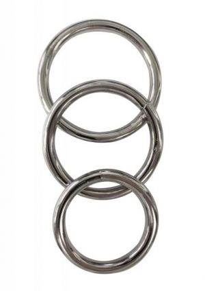 Manbound Metal Cock Ring 3 Pack Silver